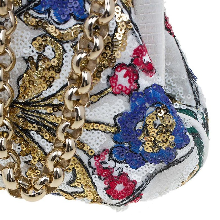 Dolce and Gabbana Multicolor Sequins Frame Convertible Clutch For Sale 4