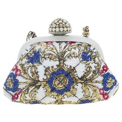 Dolce and Gabbana Multicolor Sequins Frame Convertible Clutch