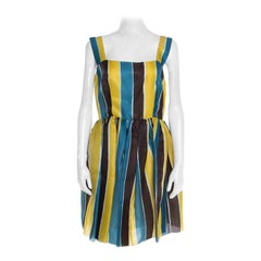 Dolce and Gabbana Multicolor Stripe Printed Silk Sleeveless Dress M