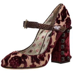 Dolce and Gabbana Multicolor Velvet And Canvas Mary Jane Pumps Size 37