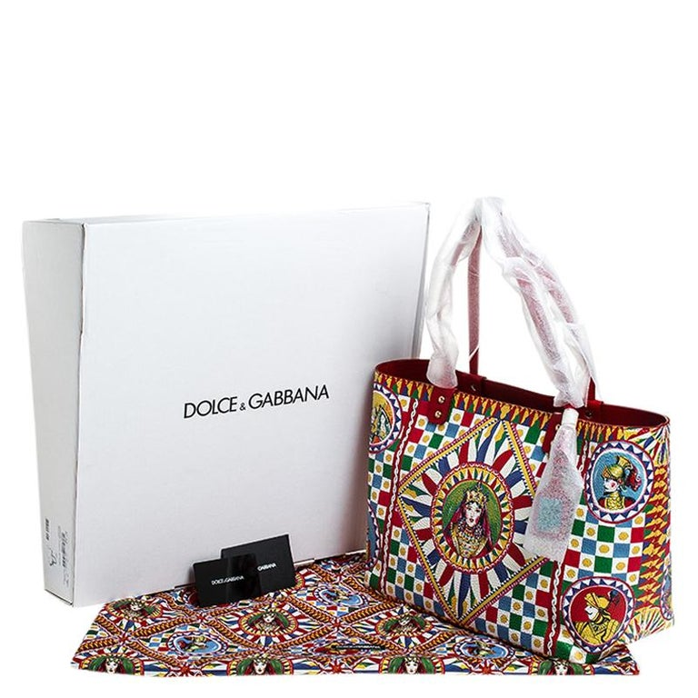 Dolce and Gabbana Multicolore Sicilian Carretto Leather Beatrice Shopper Tote For Sale 7