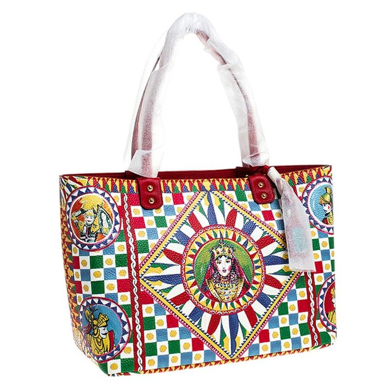Women's Dolce and Gabbana Multicolore Sicilian Carretto Leather Beatrice Shopper Tote For Sale