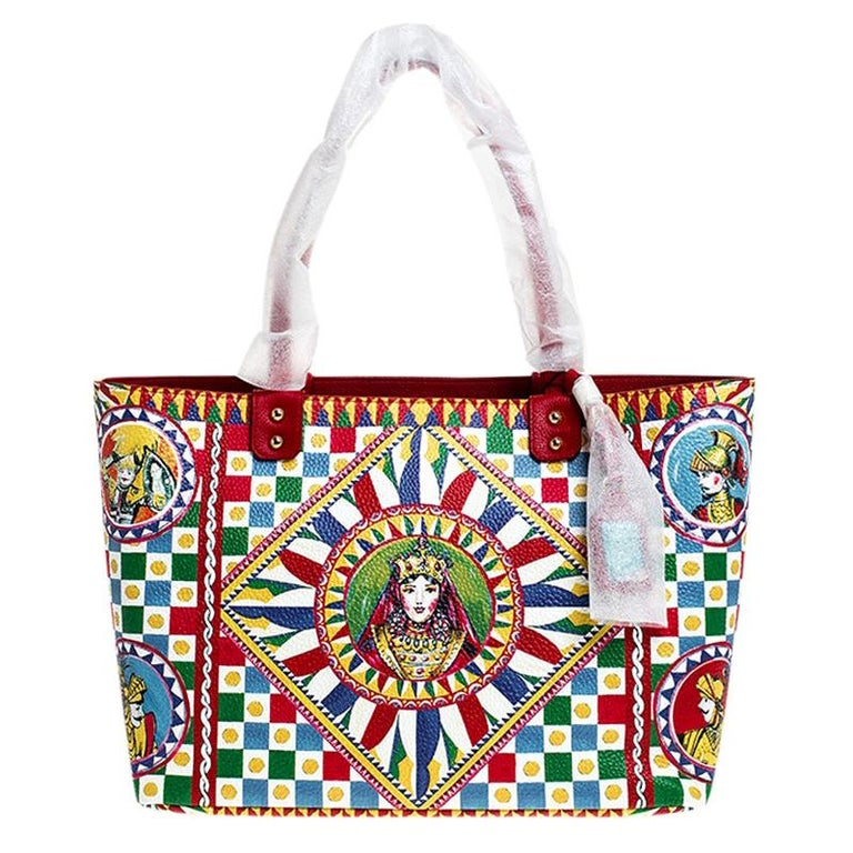 Dolce and Gabbana Multicolore Sicilian Carretto Leather Beatrice Shopper Tote For Sale