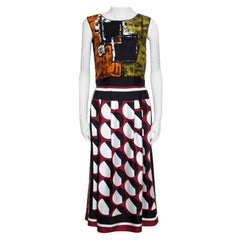 Dolce and Gabbana Multilcolor Abstract Printed Silk Sleeveless Dress S