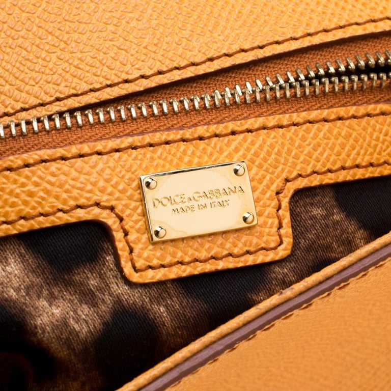 Dolce and Gabbana Mustard Leather Medium Monica Tote For Sale 5