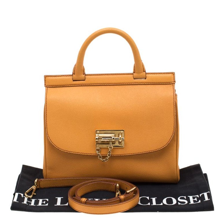 Dolce and Gabbana Mustard Leather Medium Monica Tote For Sale 7