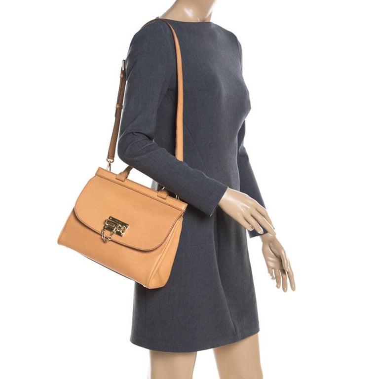 Orange Dolce and Gabbana Mustard Leather Medium Monica Tote For Sale