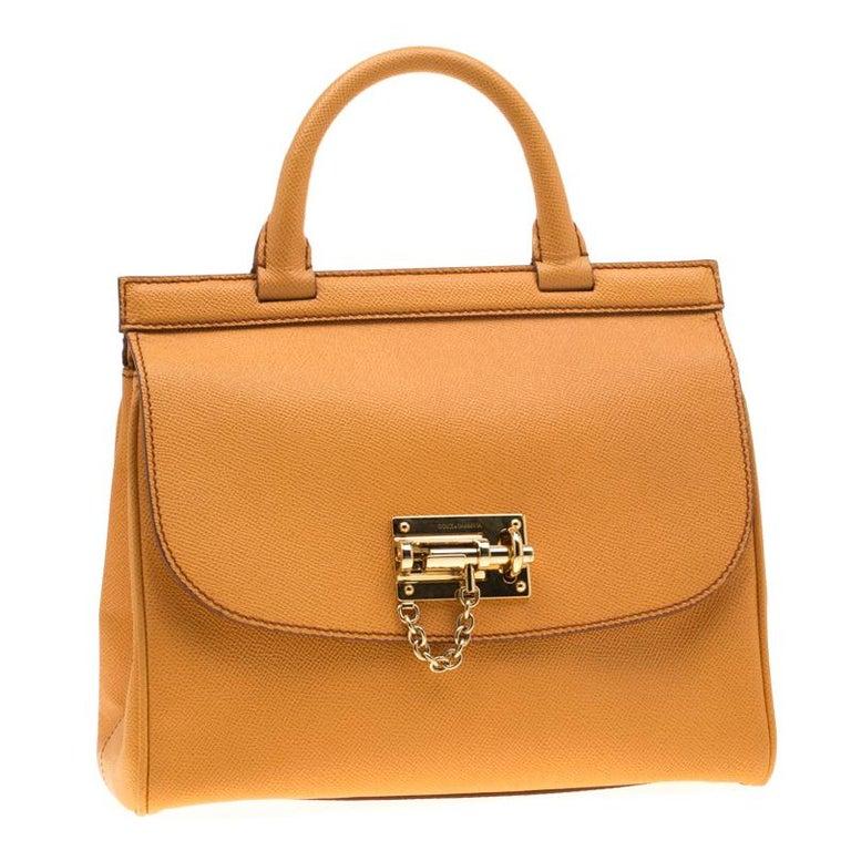 Dolce and Gabbana Mustard Leather Medium Monica Tote In Good Condition For Sale In Dubai, Al Qouz 2