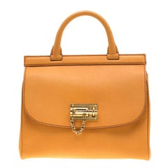 Dolce and Gabbana Mustard Leather Medium Monica Tote