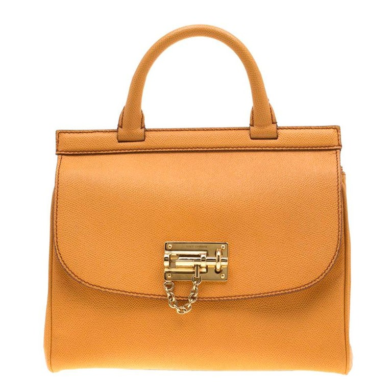 Dolce and Gabbana Mustard Leather Medium Monica Tote For Sale