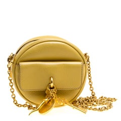 Dolce and Gabbana Mustard Yellow Leather Small Charm Miss Glam Crossbody Bag