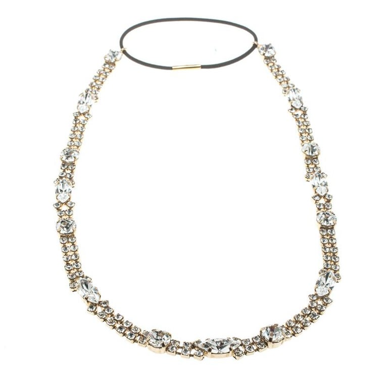 Gray Dolce and Gabbana Navette & Round Crystal Studded Gold Tone Headband For Sale