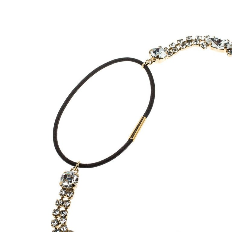 Women's Dolce and Gabbana Navette & Round Crystal Studded Gold Tone Headband For Sale