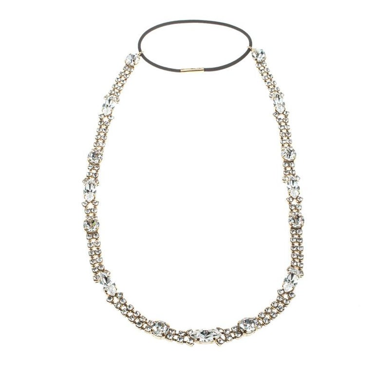 Dolce and Gabbana Navette & Round Crystal Studded Gold Tone Headband For Sale
