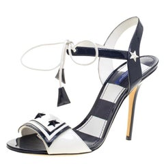 363b11c576ac Dolce and Gabbana Navy Blue and White Patent Leather Keira Ankle Tie Open  Toe Sa
