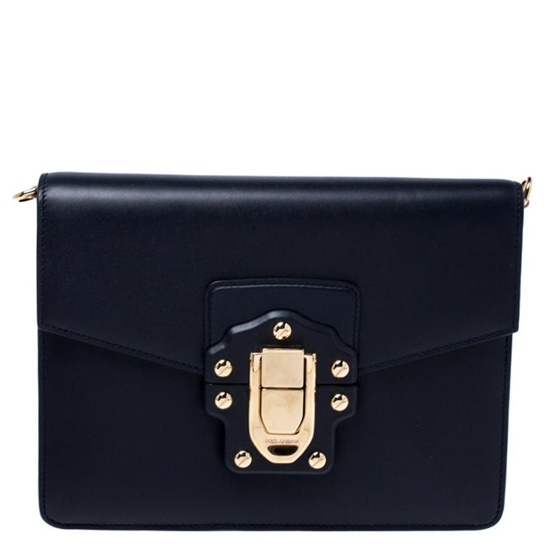 Dolce and Gabbana Navy Blue Leather Lucia Medium Shoulder Bag For Sale 7