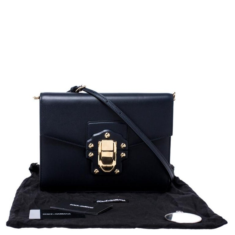 Dolce and Gabbana Navy Blue Leather Lucia Medium Shoulder Bag For Sale 8