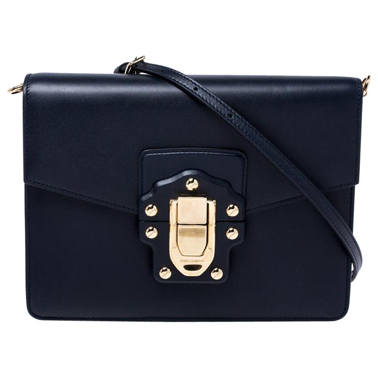 Dolce and Gabbana Navy Blue Leather Lucia Medium Shoulder Bag For Sale