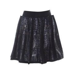 Dolce and Gabbana Navy Blue Lurex Jacquard Pleated Short Skirt M