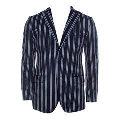 Dolce And Gabbana Navy Blue Striped Cotton Tailored Two Button Blazer M