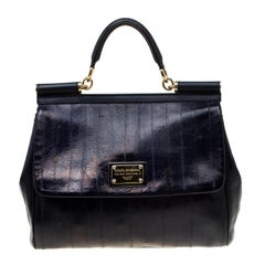 Dolce and Gabbana Navy Blue Striped Leather Large Miss Sicily Top Handle Bag