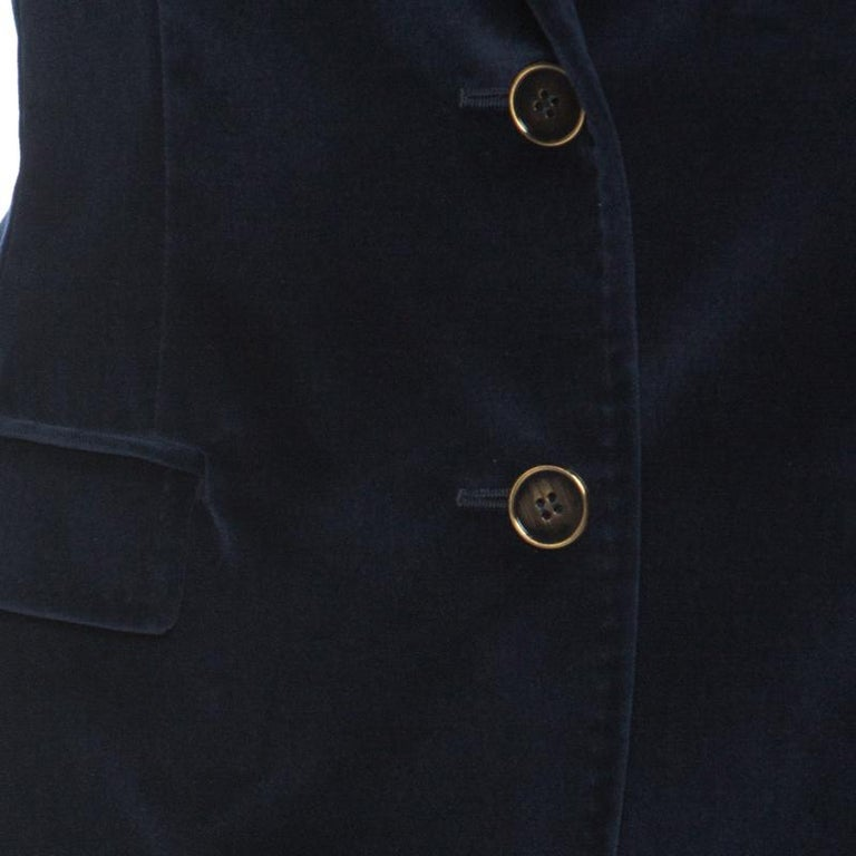 Women's Dolce and Gabbana Navy Blue Velvet Notch Lapel Blazer S For Sale