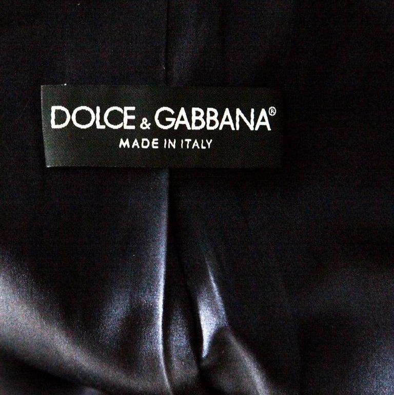 Dolce and Gabbana Navy Blue Velvet Notch Lapel Blazer S For Sale 2