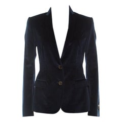 Dolce and Gabbana Navy Blue Velvet Notch Lapel Blazer S