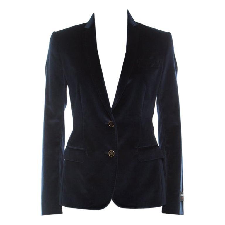 Dolce and Gabbana Navy Blue Velvet Notch Lapel Blazer S For Sale