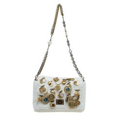 27a751650120 Dolce and Gabbana Off White Crochet Fabric Miss Charles Embellished  Shoulder Bag