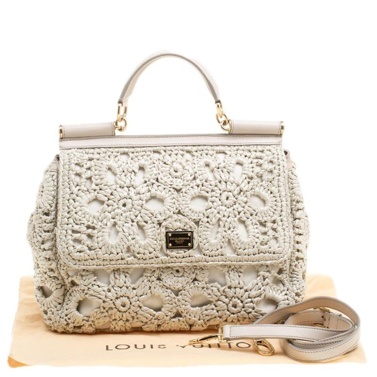 Dolce and Gabbana Off White Crochet Raffia Large Miss Sicily Top Handle Bag For Sale 7