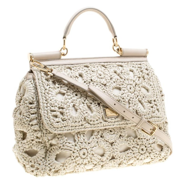Women's Dolce and Gabbana Off White Crochet Raffia Large Miss Sicily Top Handle Bag For Sale
