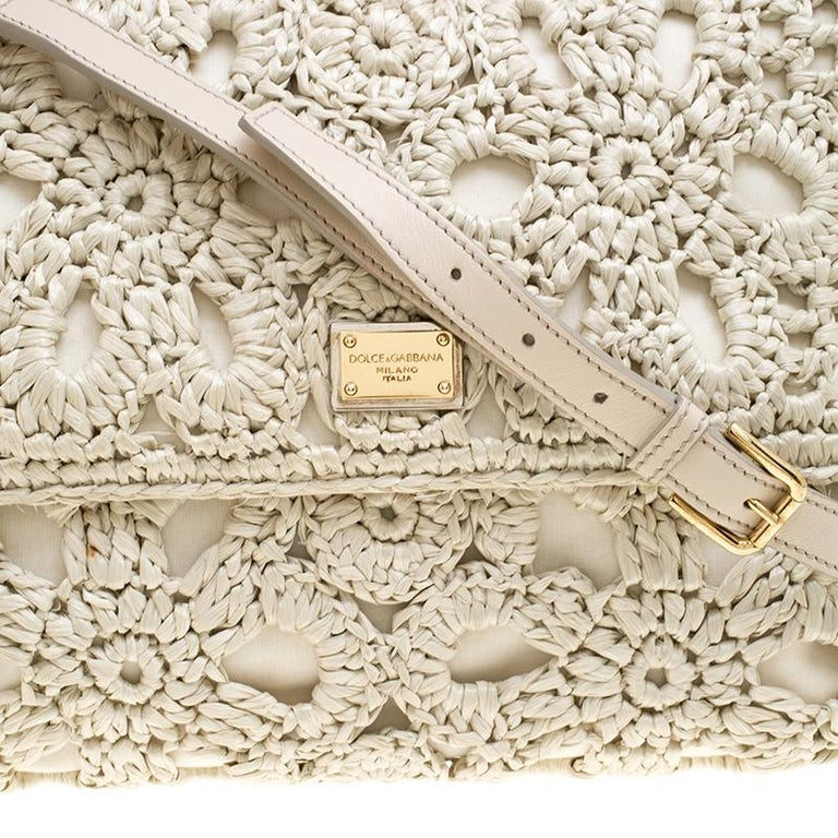 Dolce and Gabbana Off White Crochet Raffia Large Miss Sicily Top Handle Bag For Sale 1