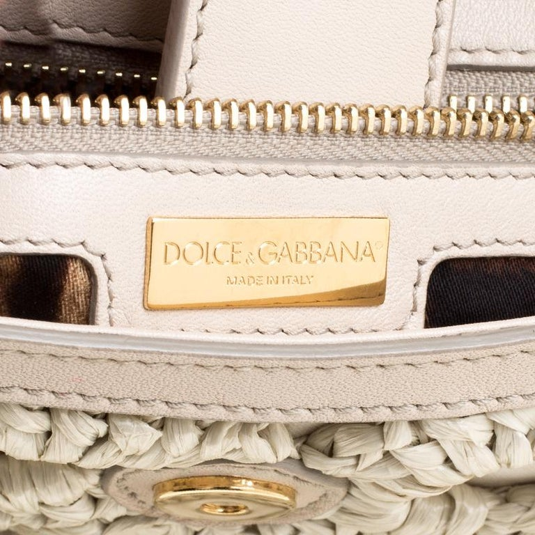 Dolce and Gabbana Off White Crochet Raffia Large Miss Sicily Top Handle Bag For Sale 4