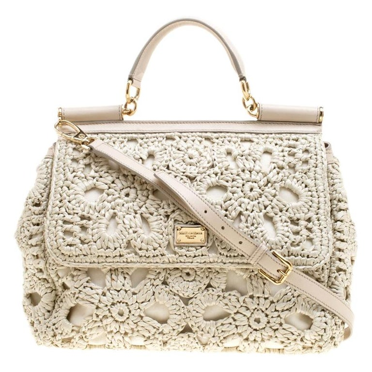 Dolce and Gabbana Off White Crochet Raffia Large Miss Sicily Top Handle Bag For Sale