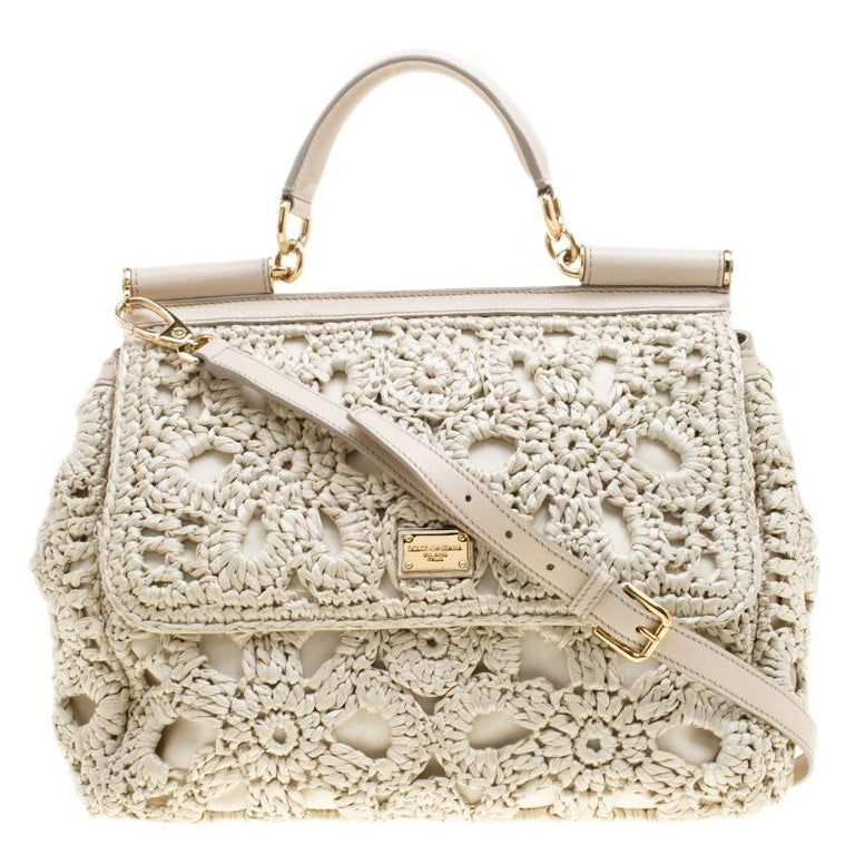 70b86c8e2f3e Dolce and Gabbana Off White Crochet Raffia Large Miss Sicily Top Handle Bag  For Sale