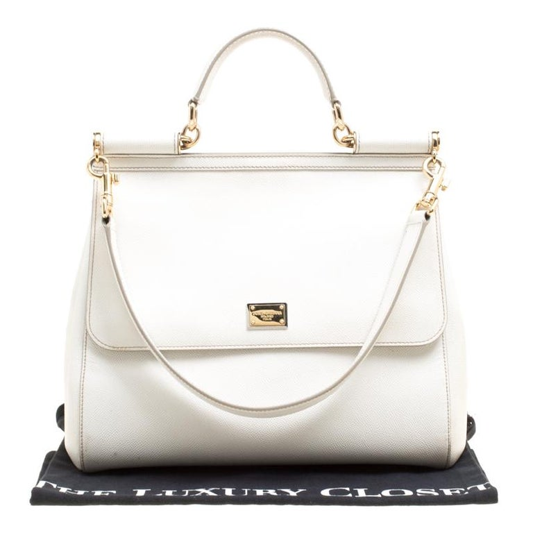 Dolce and Gabbana Off White Leather Large Miss Sicily Top Handle Bag For Sale 7