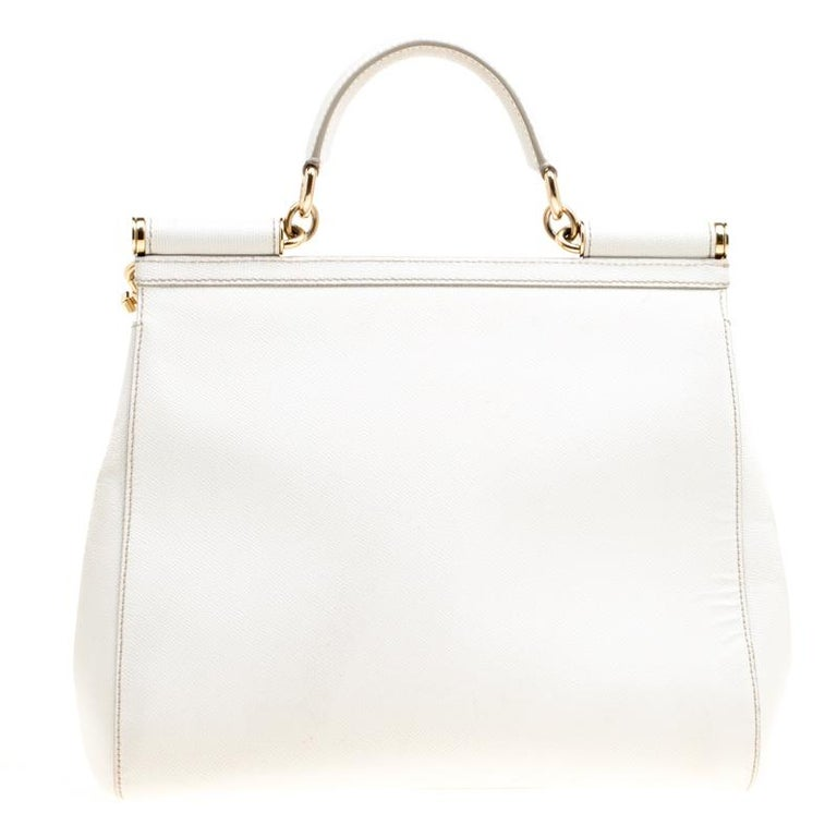 Dolce and Gabbana Off White Leather Large Miss Sicily Top Handle Bag In Good Condition For Sale In Dubai, Al Qouz 2