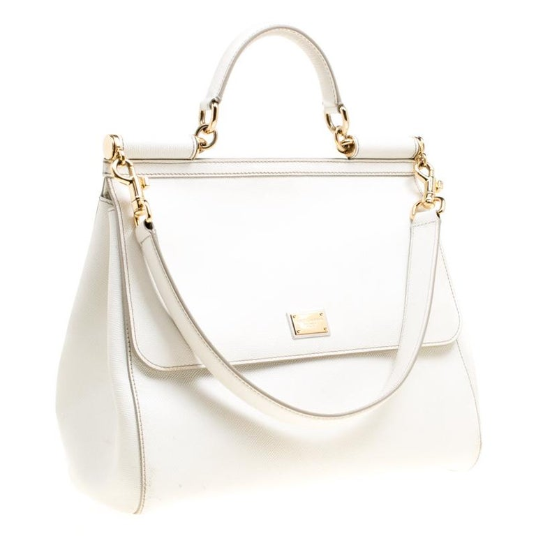 Women's Dolce and Gabbana Off White Leather Large Miss Sicily Top Handle Bag For Sale