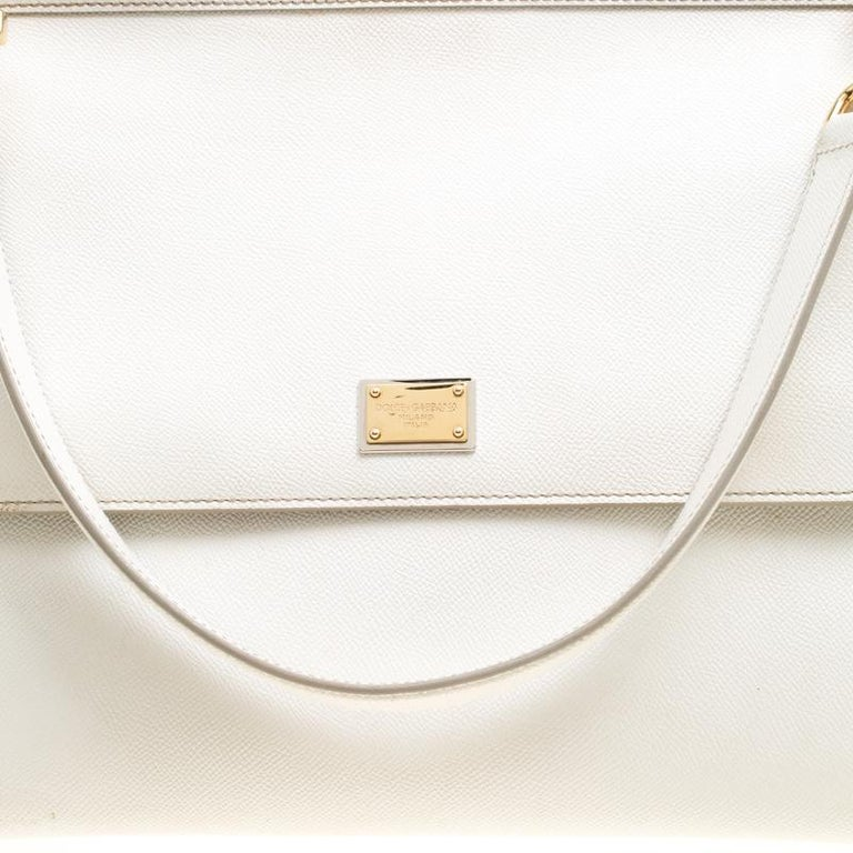 Dolce and Gabbana Off White Leather Large Miss Sicily Top Handle Bag For Sale 1