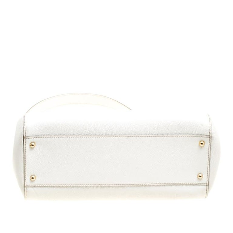 Dolce and Gabbana Off White Leather Large Miss Sicily Top Handle Bag For Sale 2