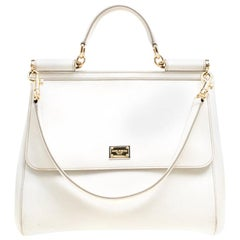 Dolce and Gabbana Off White Leather Large Miss Sicily Top Handle Bag