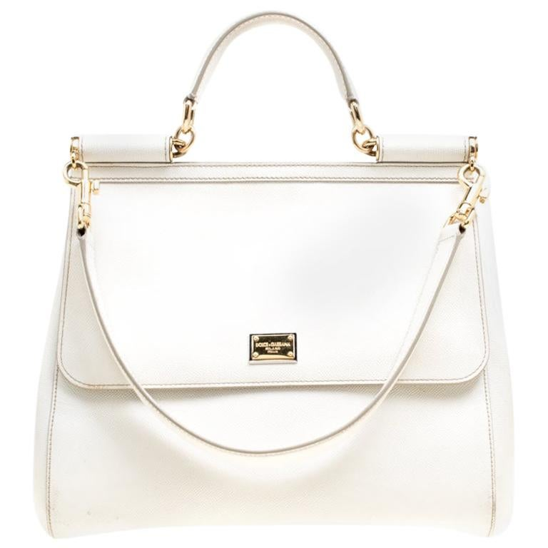Dolce and Gabbana Off White Leather Large Miss Sicily Top Handle Bag For Sale