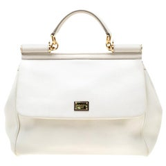 Dolce and Gabbana Off White Leather Large Miss Sicily Tote
