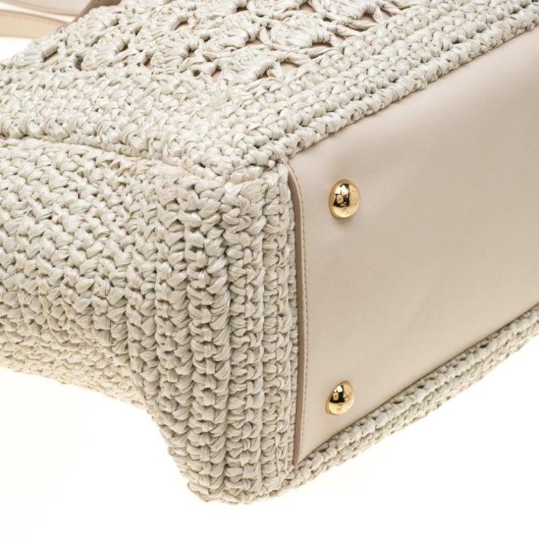 Dolce and Gabbana Off White Raffia Crochet Alma Tote For Sale 6