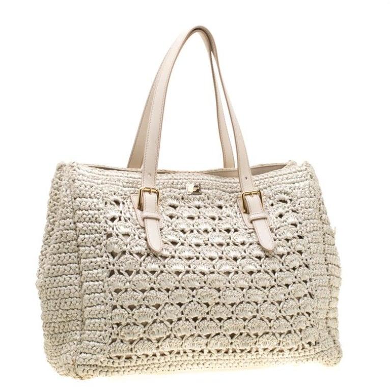 Women's Dolce and Gabbana Off White Raffia Crochet Alma Tote For Sale