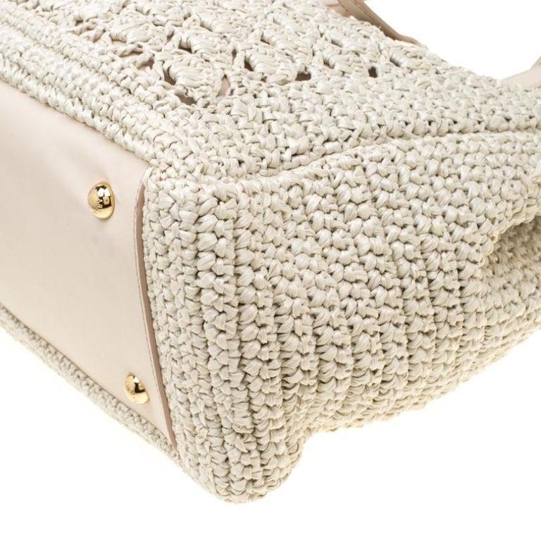 Dolce and Gabbana Off White Raffia Crochet Alma Tote For Sale 1