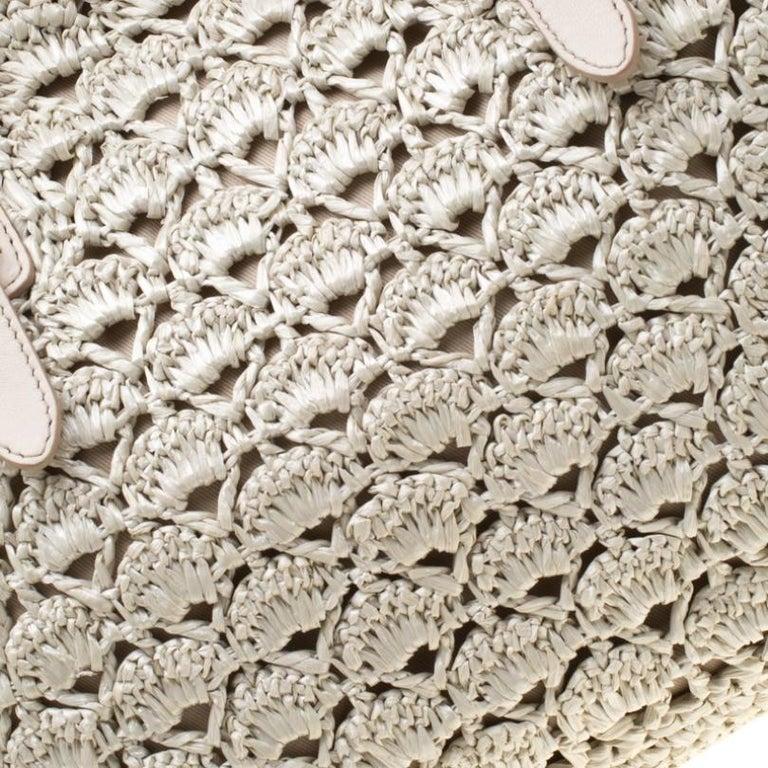 Dolce and Gabbana Off White Raffia Crochet Alma Tote For Sale 2