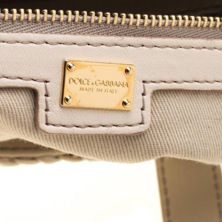 Dolce and Gabbana Off White Raffia Crochet Alma Tote For Sale 3