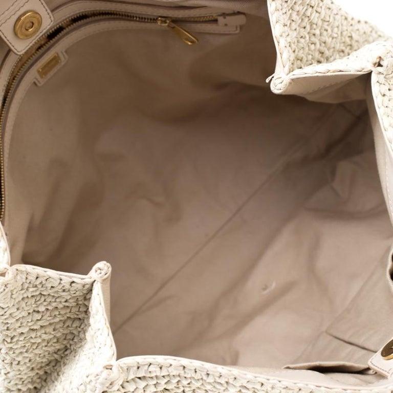 Dolce and Gabbana Off White Raffia Crochet Alma Tote For Sale 4